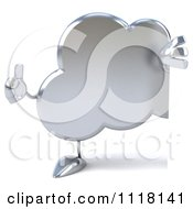 Clipart Of A 3d Silver Cloud Holding A Thumb Up And A Sign 2 Royalty Free CGI Illustration
