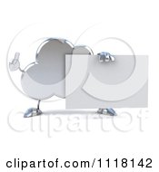 Clipart Of A 3d Silver Cloud Holding A Thumb Up And A Sign 1 Royalty Free CGI Illustration