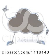 Clipart Of A 3d Silver Cloud With An Idea Royalty Free CGI Illustration