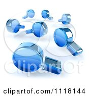 3d Blue Magnifying Glasses Searching