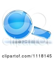 Clipart Of A 3d Blue Magnifying Glass And Shadow Royalty Free CGI Illustration