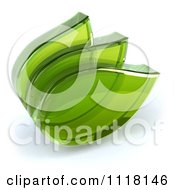Clipart Of A 3d Transparent Glass Green Leaves 3 Royalty Free CGI Illustration by Julos