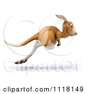 Clipart Of A 3d Aussie Kangaroo Hopping Right Royalty Free CGI Illustration