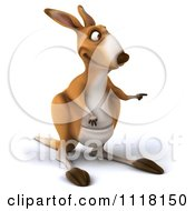 Clipart Of A 3d Aussie Kangaroo Pointing Right Royalty Free CGI Illustration