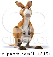Clipart Of A 3d Aussie Kangaroo Facing Front Royalty Free CGI Illustration