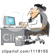 Cartoon Of A Halloween Vampire Using A Computer At An Office Desk Royalty Free Vector Clipart