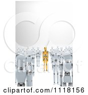 Clipart Of A 3d Unique Gold Mannequin Standing Between Crowds Of White Dummies Royalty Free CGI Illustration