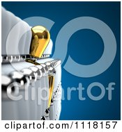 Clipart Of A Unique 3d Gold Mannequin Leaning Out Of A Row Of White Mannequins Royalty Free CGI Illustration