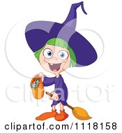 Cartoon Of A Happy Trick Or Treating Halloween Girl In A Witch Costume Royalty Free Vector Clipart