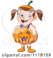 Cartoon Of A Happy Halloween Girl In A Pumpkin Costume Royalty Free Vector Clipart