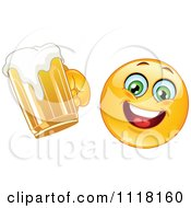 Cartoon Of A Happy Emoticon Cheering With Beer Royalty Free Vector Clipart