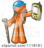 Cartoon Of A Geocaching Orange Man Hiker Holding Out A Gps Device Royalty Free Vector Clipart