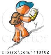 Cartoon Of A Geocaching Orange Man Hiker Using A Gps Device Royalty Free Vector Clipart