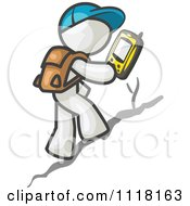 Cartoon Of A Geocaching White Man Hiker Using A Gps Device Royalty Free Vector Clipart