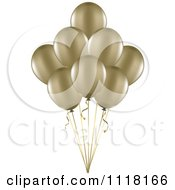 3d Metallic Gold Party Balloons And Ribbons