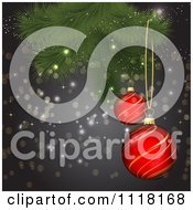 Clipart Of 3d Red And Gold Christmas Baubles Suspended From A Tree Branch Over Gray With Sparkles Royalty Free Vector Illustration