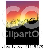 Clipart Of Silhouetted Grass Weeds And Wildflowers On A Hill At Sunset Royalty Free Vector Illustration