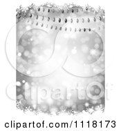 Clipart Of A Silver Christmas Background Of Colorful Lights With Snow Grunge And Bokeh Lights Royalty Free Vector Illustration
