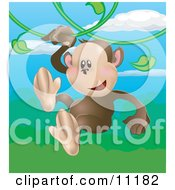 Happy Little Monkey Swinging On Vines In A Rainforest Clipart Illustration