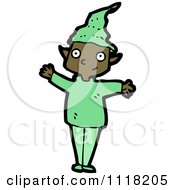 Cartoon Of A Waving Black Male Christmas Elf In A Green Suit Royalty Free Vector Clipart