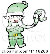 Cartoon Of A Cold Female Christmas Elf In A Green Suit Royalty Free Vector Clipart