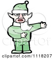 Cartoon Of A Cold Male Christmas Elf Giving Directions In A Green Suit Royalty Free Vector Clipart