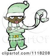 Cartoon Of A Cold Black Female Christmas Elf In A Green Suit Royalty Free Vector Clipart