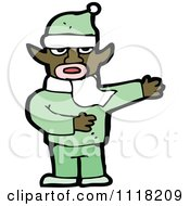 Cartoon Of A Black Male Christmas Elf Giving Directions In A Green Suit Royalty Free Vector Clipart