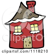 Cartoon Red Winter Home With Snow Royalty Free Vector Clipart