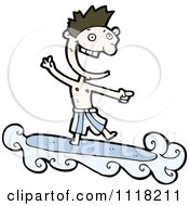 Vector Cartoon Of A Laughing Caucasian Surfer Man Riding A Wave And Pointing Royalty Free Clipart Graphic