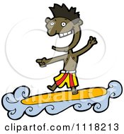 Vector Cartoon Of A Laughing Black Surfer Man Riding A Wave And Pointing Royalty Free Clipart Graphic by lineartestpilot