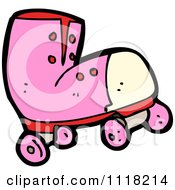 Vector Cartoon Of A Pink Roller Skate Royalty Free Clipart Graphic