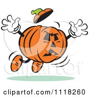 Cartoon Of A Halloween Jackolantern Jumping To Frighten Royalty Free Vector Clipart by Johnny Sajem