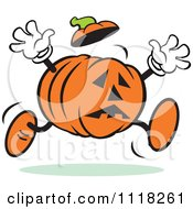 Cartoon Of A Scared Halloween Jackolantern Running Royalty Free Vector Clipart by Johnny Sajem