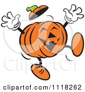 Cartoon Of A Happy Halloween Jackolantern Jumping Royalty Free Vector Clipart by Johnny Sajem
