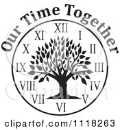 Cartoon Of A Black And White Family Reunion Tree Clock With Our Time Together Text Royalty Free Vector Clipart