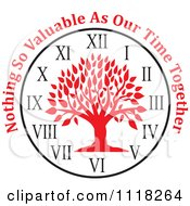 Cartoon Of A Red Family Tree Clock With Nothing So Valuable As Our Time Together Text Royalty Free Vector Clipart
