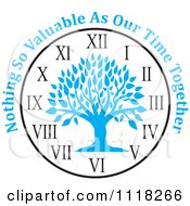 Cartoon Of A Blue Family Tree Clock With Nothing So Valuable As Our Time Together Text Royalty Free Vector Clipart by Johnny Sajem
