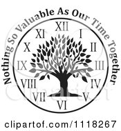 Cartoon Of A Black And White Family Tree Clock With Nothing So Valuable As Our Time Together Text Royalty Free Vector Clipart