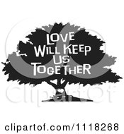 Cartoon Of A Black And White Family Tree With A Heart And Love Will Keep Us Together Text Royalty Free Vector Clipart