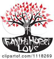 Cartoon Of A Christian Family Tree With Faith Hope Love Text And Red Heart Leaves Royalty Free Vector Clipart