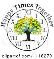 Cartoon Of A Smiley Face Family Reunion Tree Clock With Happy Times Together Text Royalty Free Vector Clipart