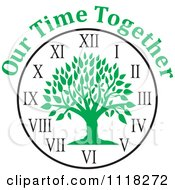 Cartoon Of A Green Family Reunion Tree Clock With Our Time Together Text Royalty Free Vector Clipart by Johnny Sajem
