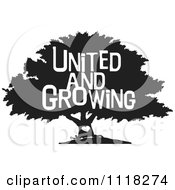 Cartoon Of A Black And White Family Tree With A Heart And United And Growing Text Royalty Free Vector Clipart by Johnny Sajem