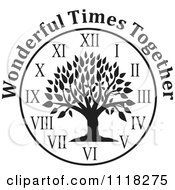 Cartoon Of A Black And White Family Reunion Tree Clock With Wonderful Times Together Text Royalty Free Vector Clipart by Johnny Sajem