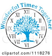 Cartoon Of A Blue Family Reunion Tree Clock With Wonderful Times Together Text Royalty Free Vector Clipart