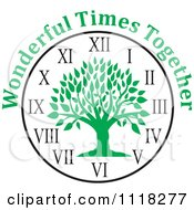 Cartoon Of A Green Family Reunion Tree Clock With Wonderful Times Together Text Royalty Free Vector Clipart