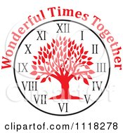 Cartoon Of A Red Family Reunion Tree Clock With Wonderful Times Together Text Royalty Free Vector Clipart