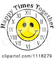 Cartoon Of A Smiley Face Clock With Happy Times Together Text Royalty Free Vector Clipart by Johnny Sajem