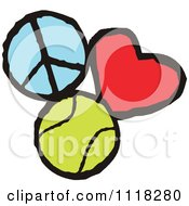 Cartoon Of Peace Love Tennis Graphics Royalty Free Vector Clipart by Johnny Sajem